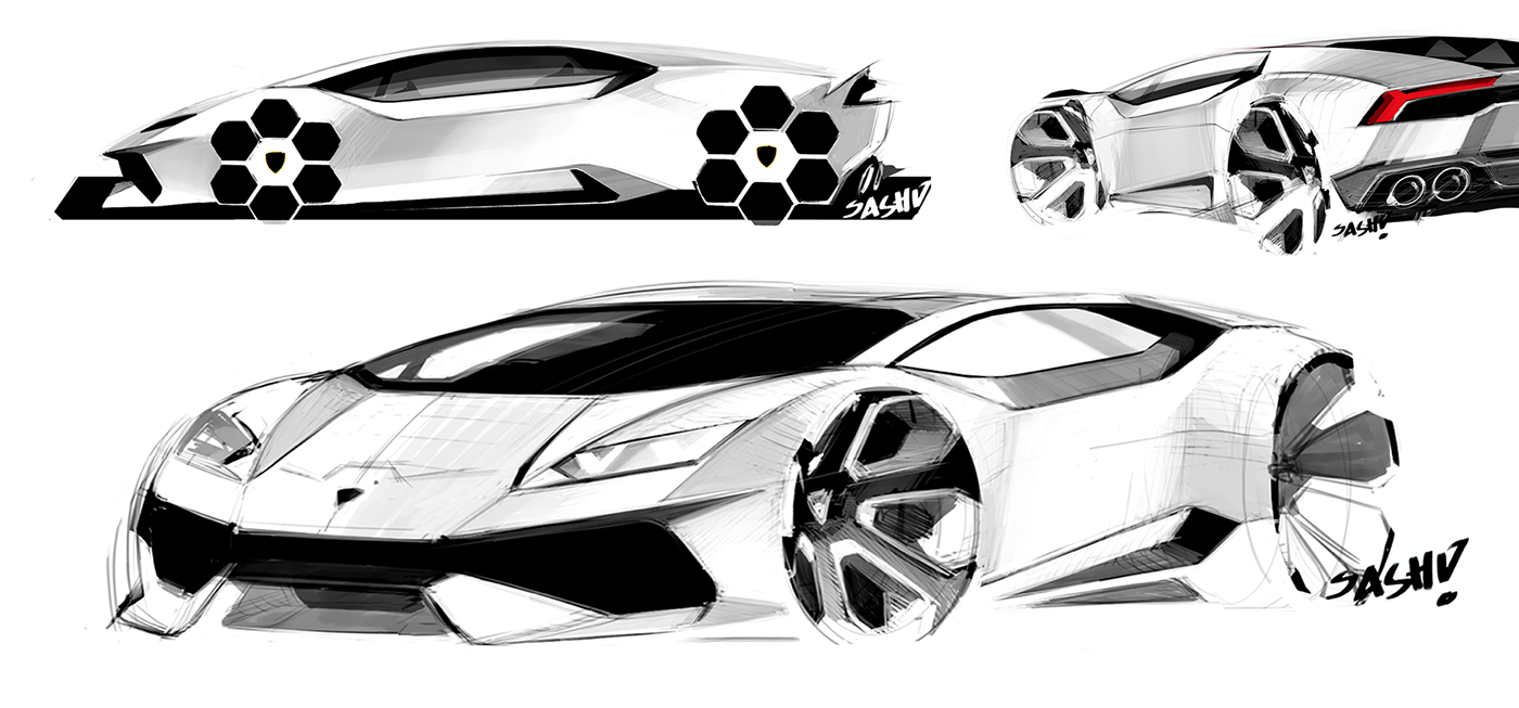 Worked on the exterior design of the Lamborghini Huracan, part of the design team in Lamborghini Centro Stile, Sant'Agata.