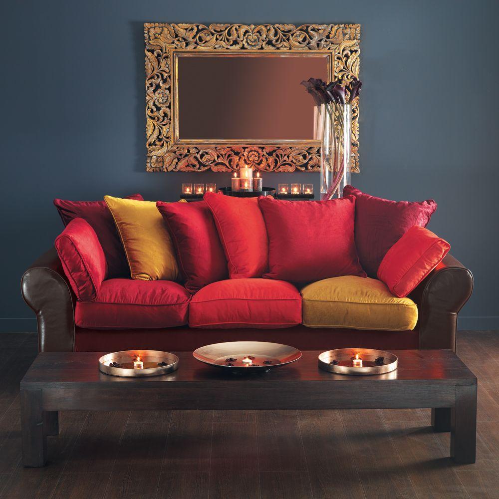 canap 3 places en cro te de cuir et velours multicolore. Black Bedroom Furniture Sets. Home Design Ideas