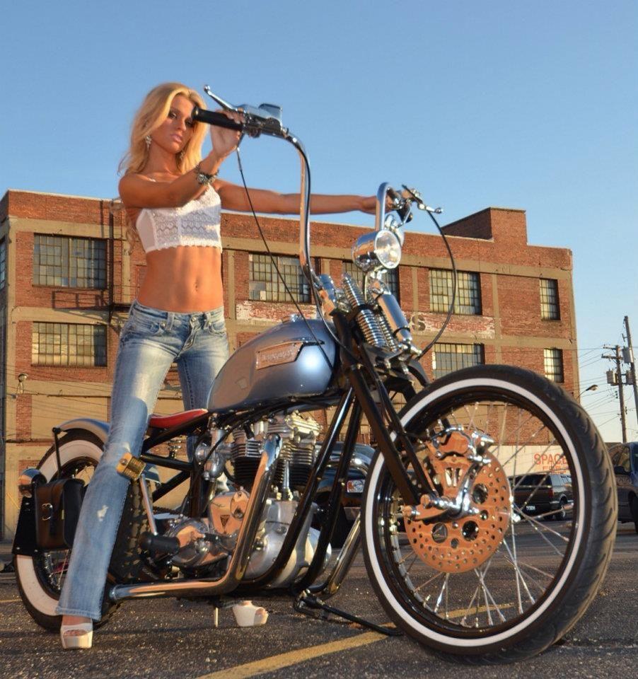 Blonde Babe On Baby Blue Bike