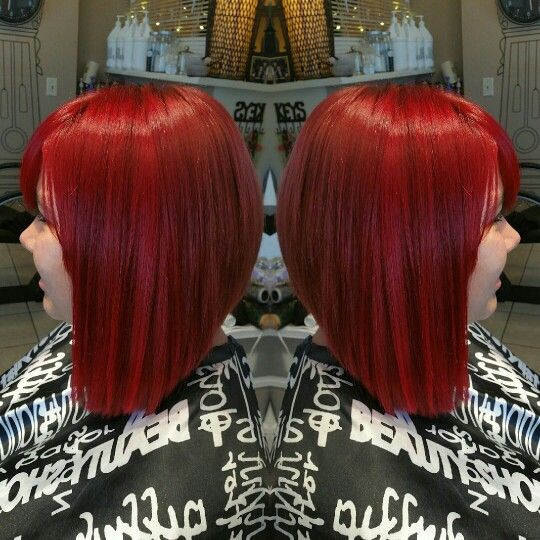 In Love With This Bright Red Asymmetric Bob!! Redken Color