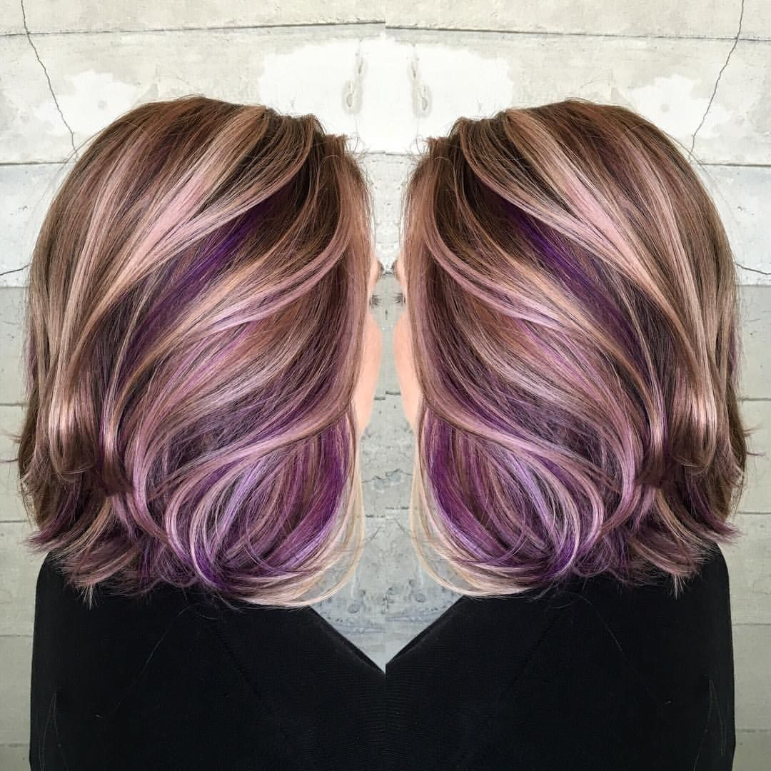 Butterfly Loft Stylist On Instagram Another One Of My Favorites From This Year Pretty Secret Pops Of Purple Peekaboo Hair Hair Styles Peekaboo Hair Colors