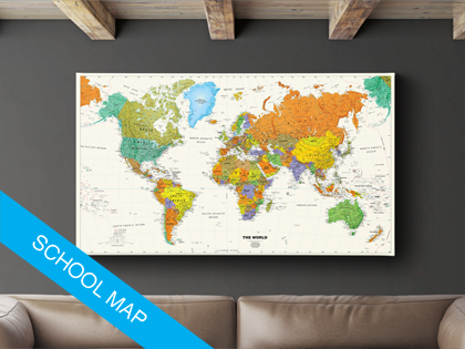 World map on canvas kids rooms room and house school world map on canvas show with flag push pins the places youve visited gumiabroncs