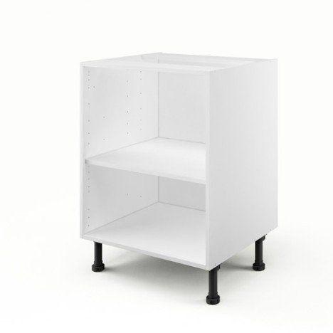Caisson de cuisine bas B60 DELINIA blanc, L60 x H85 x P56 cm - meuble bas cuisine avec plan de travail