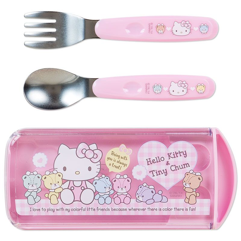 Sanrio Hello Kitty Childrens Pink Spoon /& Fork School Lunch Dinner Set