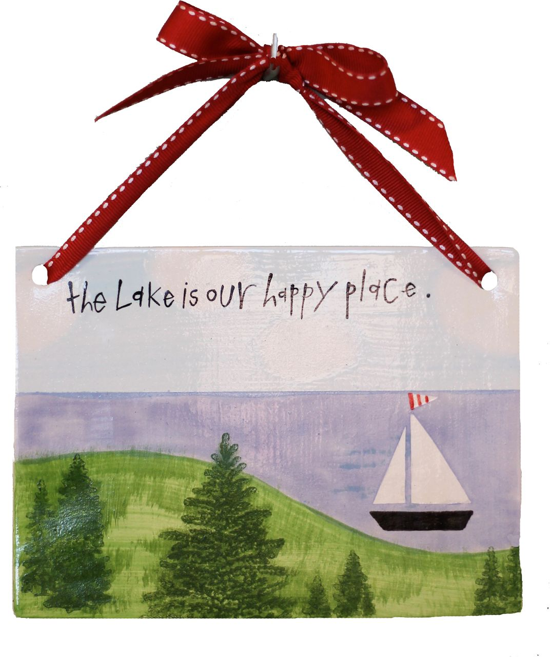 Handcrafted ceramic tile with a hand painted lake scene sail handcrafted ceramic tile with a hand painted lake scene sail boat and wording dailygadgetfo Images