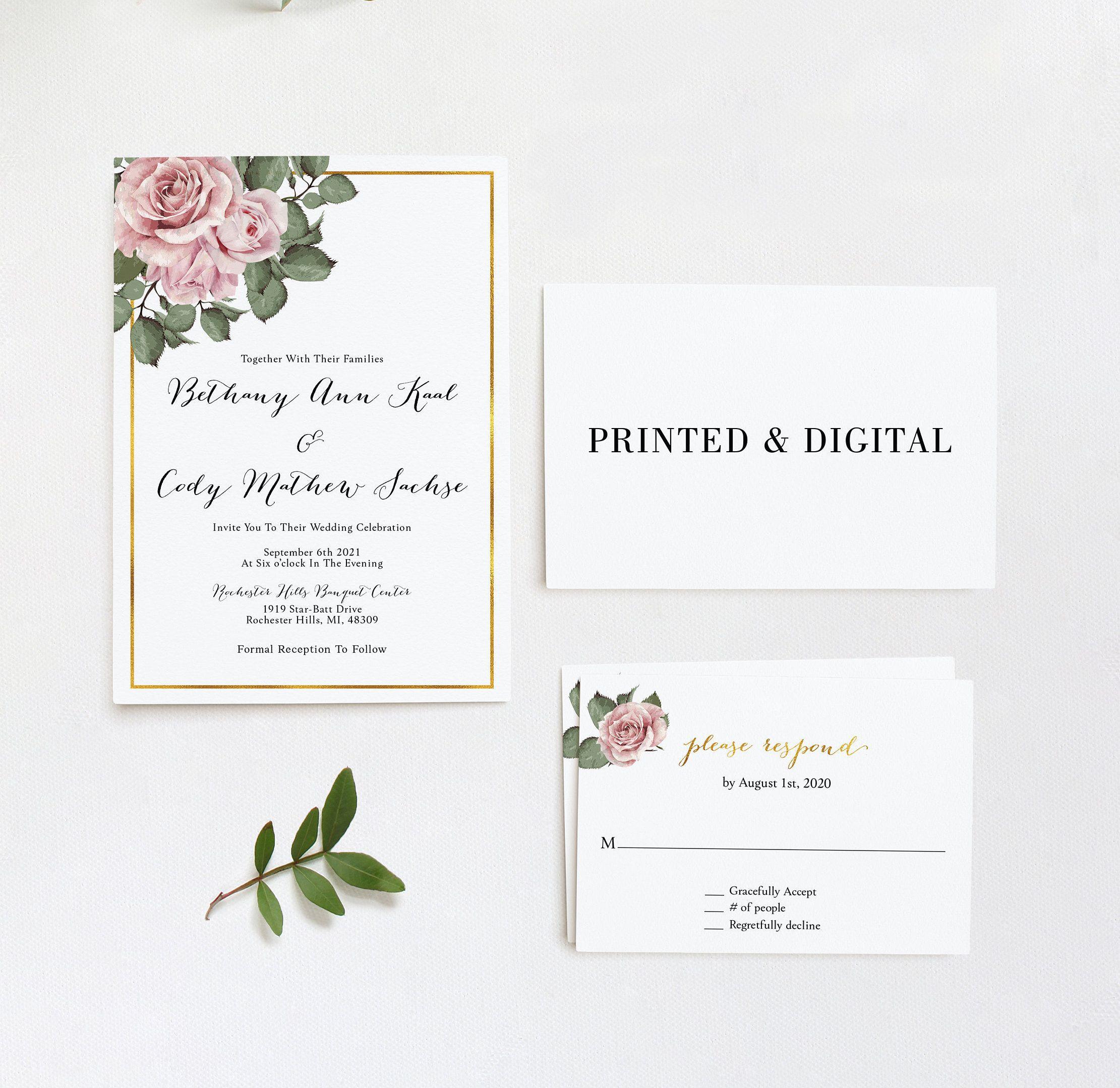 Printed Wedding Invitation Wedding Invite Wedding Invites Etsy Printing Wedding Invitations Wedding Invitations Personalised Wedding Invitations