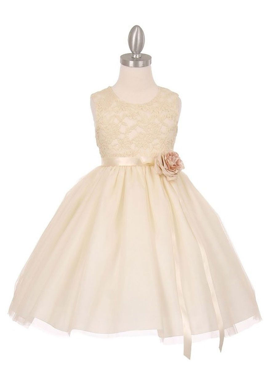Elegant contrast d stretch lace tulle flower girl dress in