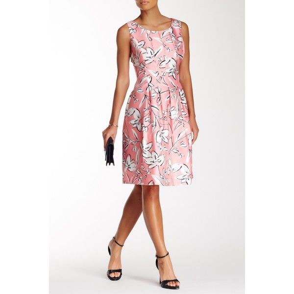 Eliza J Pleated Floral Fit & Flare Dress ($55) ❤ liked on Polyvore featuring dresses, pink, pleated fit and flare dress, floral fit-and-flare dresses, pleated dress, flower print dress and scoop neck dress