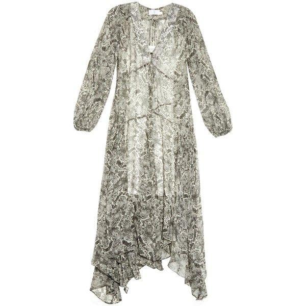 Zimmermann Gemma python-print silk-chiffon dress ($695) ❤ liked on Polyvore featuring dresses, blue multi, boho style dresses, see through dress, white sheer dress, bohemian style dresses and blue slip dress