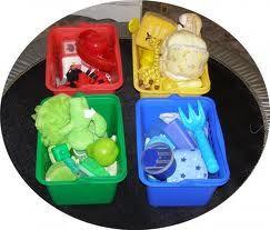 sensory color bins