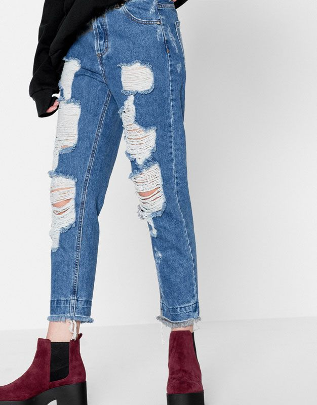 6bfb9b48bb4e Jeans mom fit tiro alto - Jeans - Ropa - Mujer - PULL&BEAR España ...