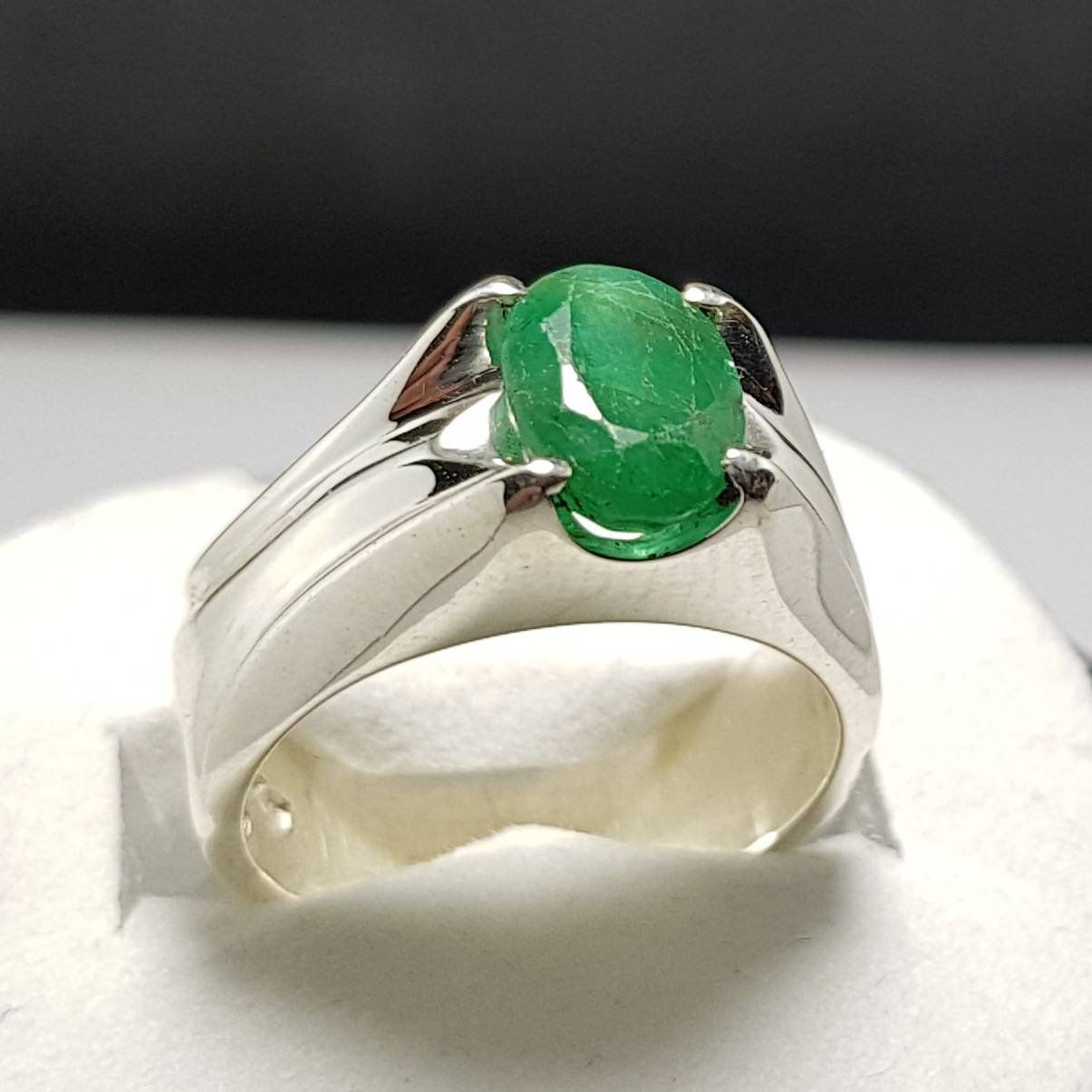 Original Panna Stone Ring In Sterling Silver White Gold