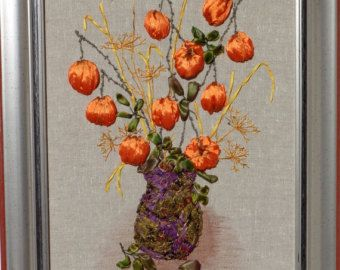picture Wildflowers Silk ribbon by SilkRibbonembroidery on Etsy