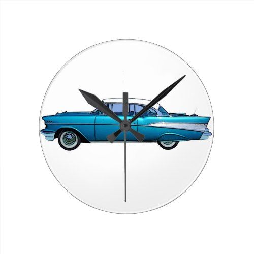 Classic Car 1957 Chevy Belaire Round Clock Zazzle Com Classic Cars Chevy Clock