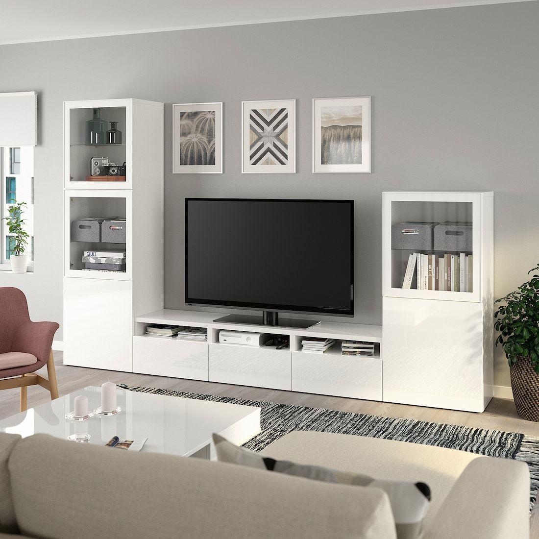Besta Tv Storage Combination Glass Doors White Selsviken High