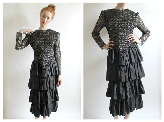 Black Lace Sequin Dress Gown Tiered Skirt 4/6 by wildthingvintage- Tiered Skirt, 4/6, Gothic Renaissance Prom, Tea Length Cocktail Fancy Sheer Sleeve