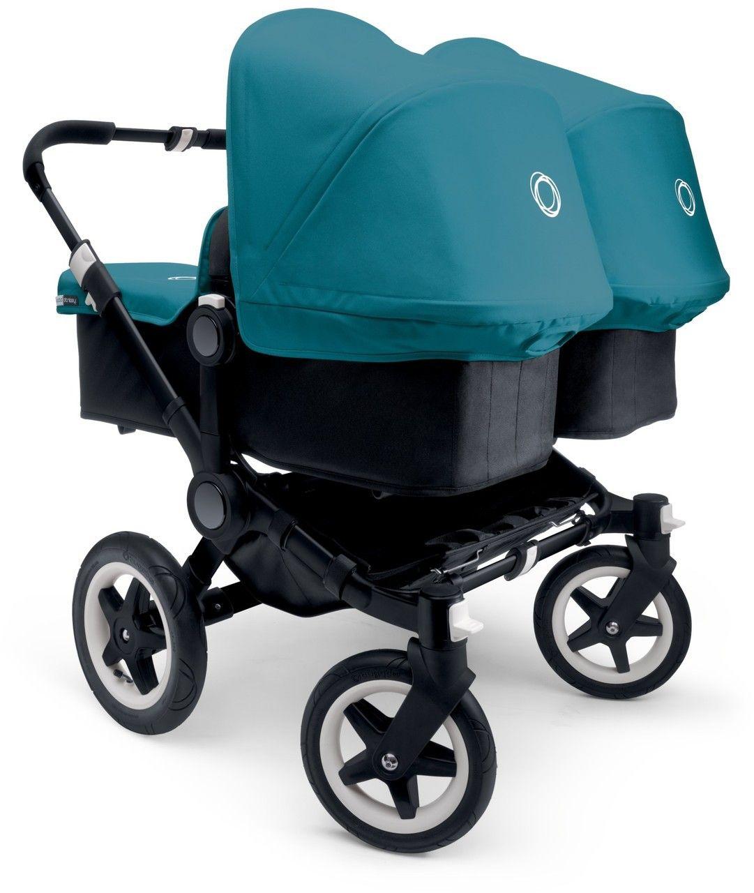 Bugaboo Donkey Twin Zwillingskinderwagen Set Schwarz Petrol Blue Zwillingskinderwagen Kinderwagen Zwillinge Kinder Wagen