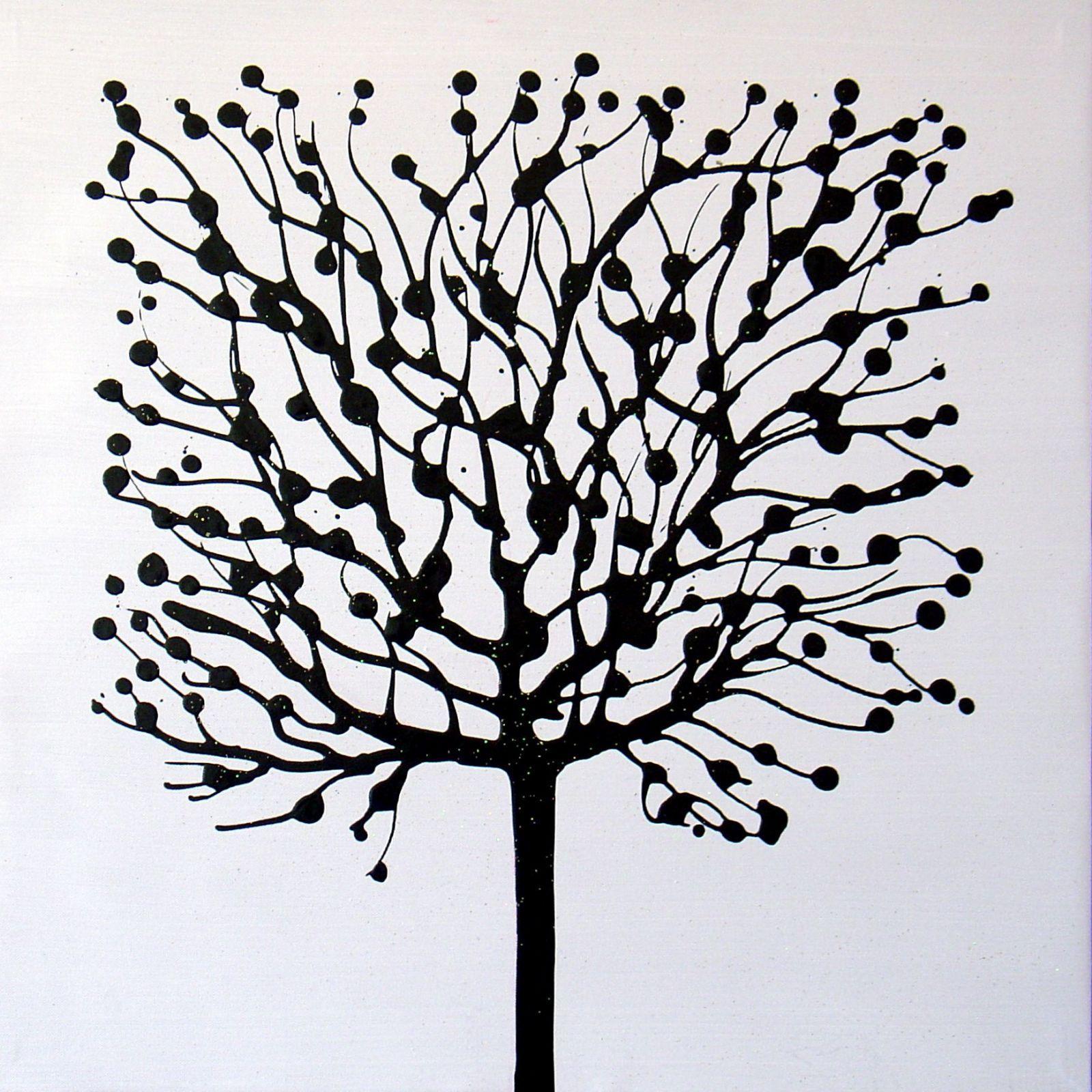 arbre noir fond blanc peinture artistes beaux tableaux plus belle galerie art decoration cadeau. Black Bedroom Furniture Sets. Home Design Ideas