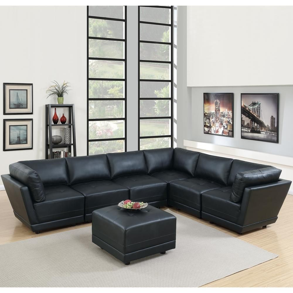 7-Piece Black Bonded Leatherette Modular Sectional Set with ...