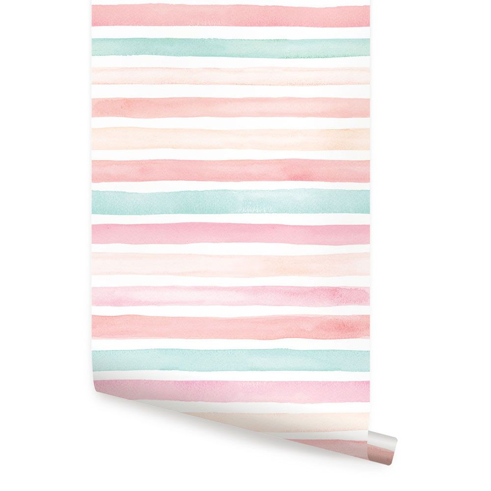 Watercolor Stripes Wallpaper Coral Mint Peel And Stick