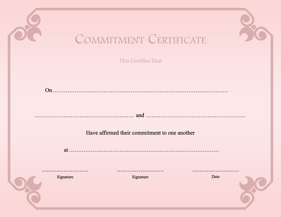 Printable Commitment Ceremony Certificate Template ...