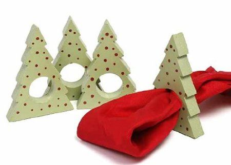 Amazon.com: Set of 16- Painted Wood Christmas Tree Napkin Rings: Arts, Crafts & Sewing