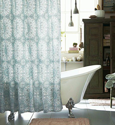 Caro Home Fabric Shower Curtain Teal Medallions Caro Home S