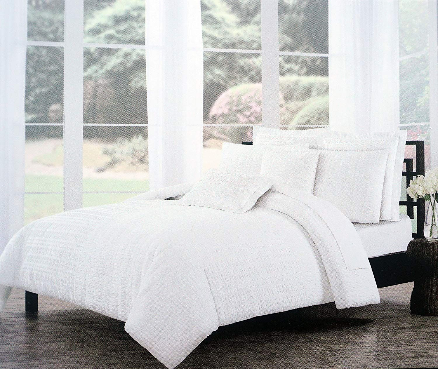 Tahari Bedding Solid White Textured Stripes Duvet Cover Set Full