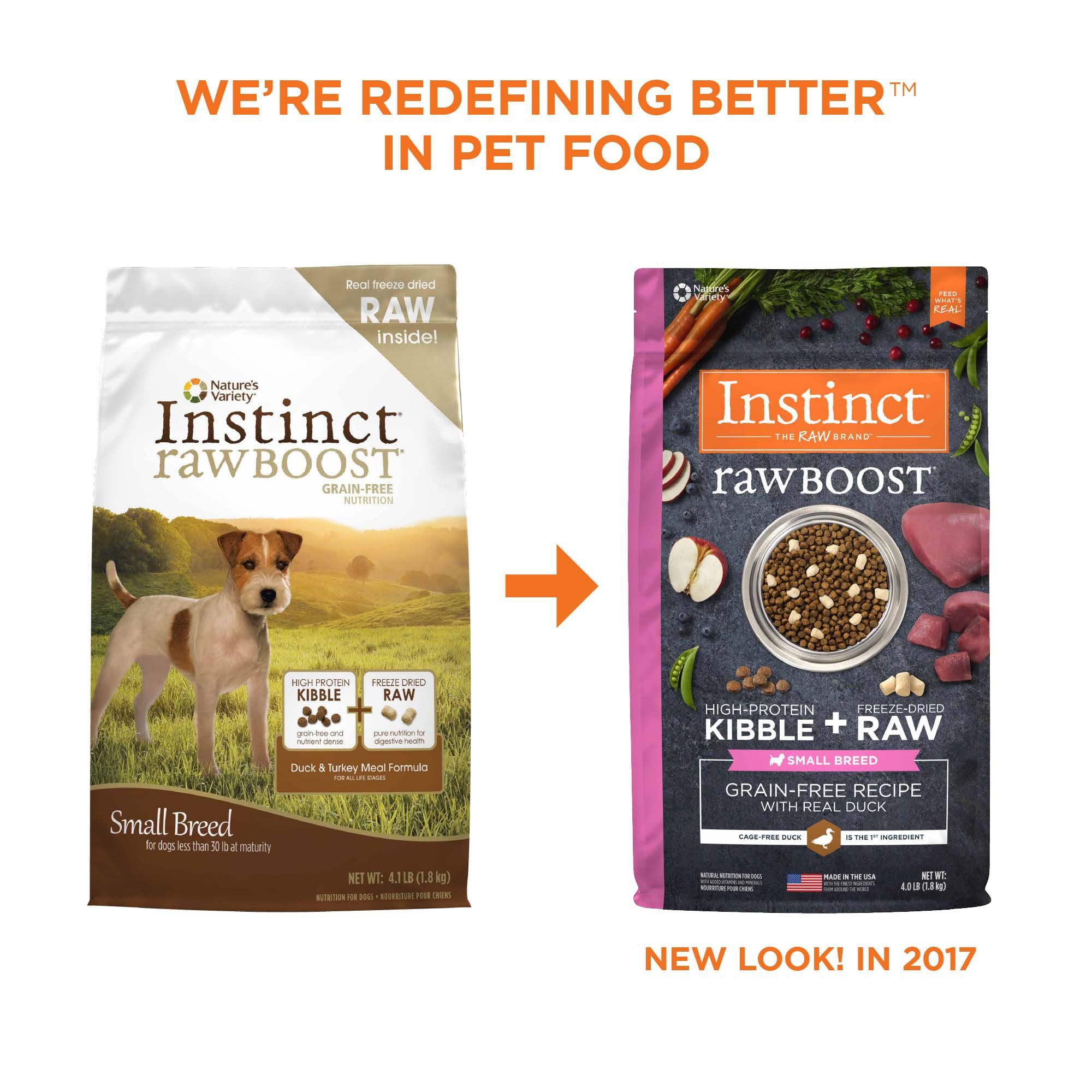 Instinct Raw Boost Small Breed Grain Free Recipe With Real Duck Dry Dog Food With Freeze Dried Raw Pieces 4 Lbs Petco Dry Cat Food Dry Dog Food Dog Food Recipes