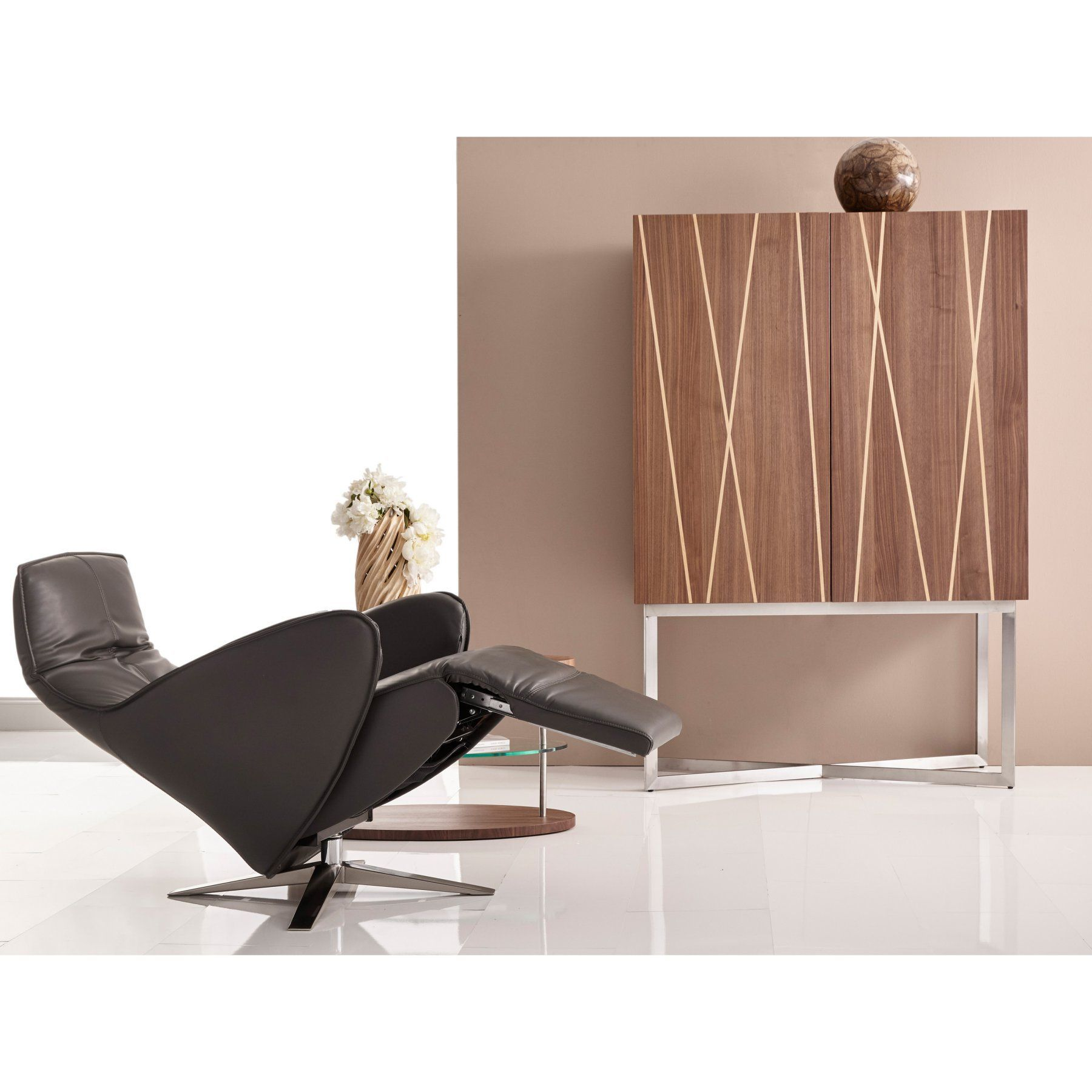 Rolf Benz Relaxfauteuil 577.Bellini Modern Living Cannella Leather Recliner Cannella Gry