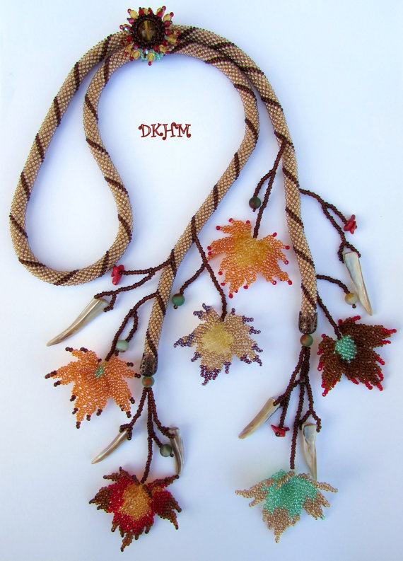 Crocheted autumn fall lariat with beaded leaves ooak by DKHM