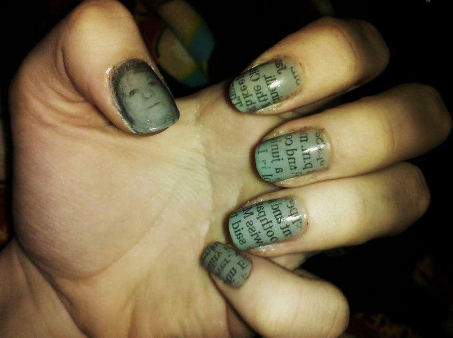Newsprint nail art by Chelseapoops.deviantart.com on @deviantART