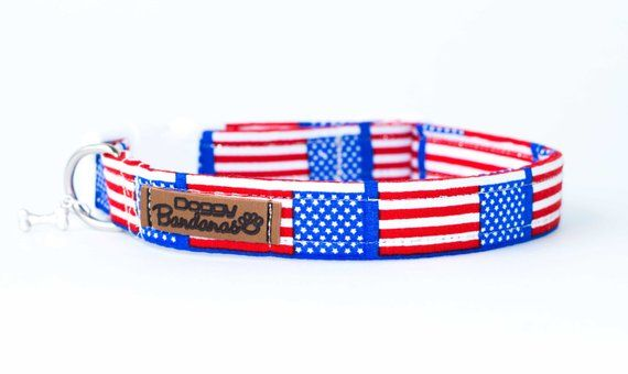 Usa Flag Dog Collar American Patriotic Dog Collar Holiday Dog