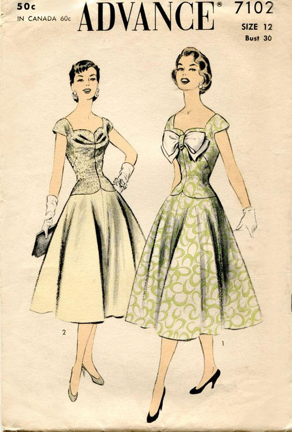 1950s Vintage Dress Pattern Advance 7102 Sewing Pattern by ...