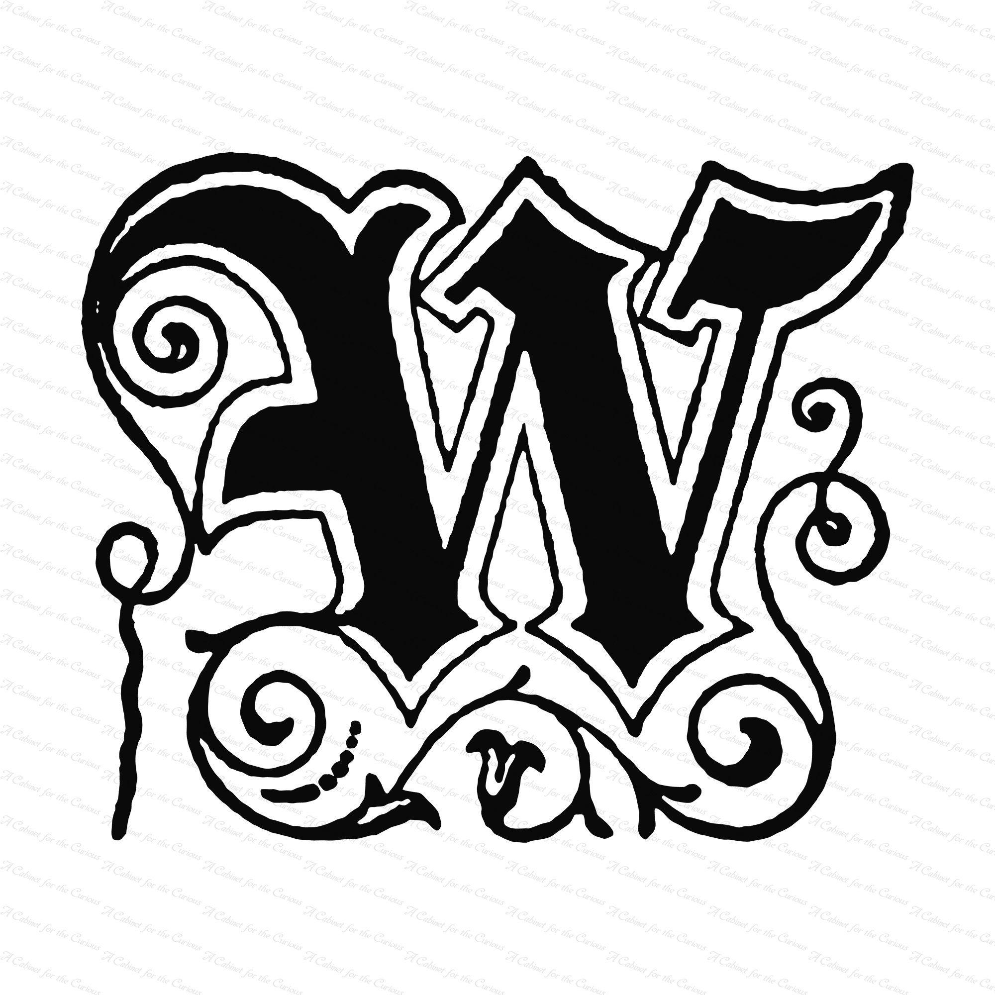 Ornamental Penwork Initial Letter W Vector Clipart