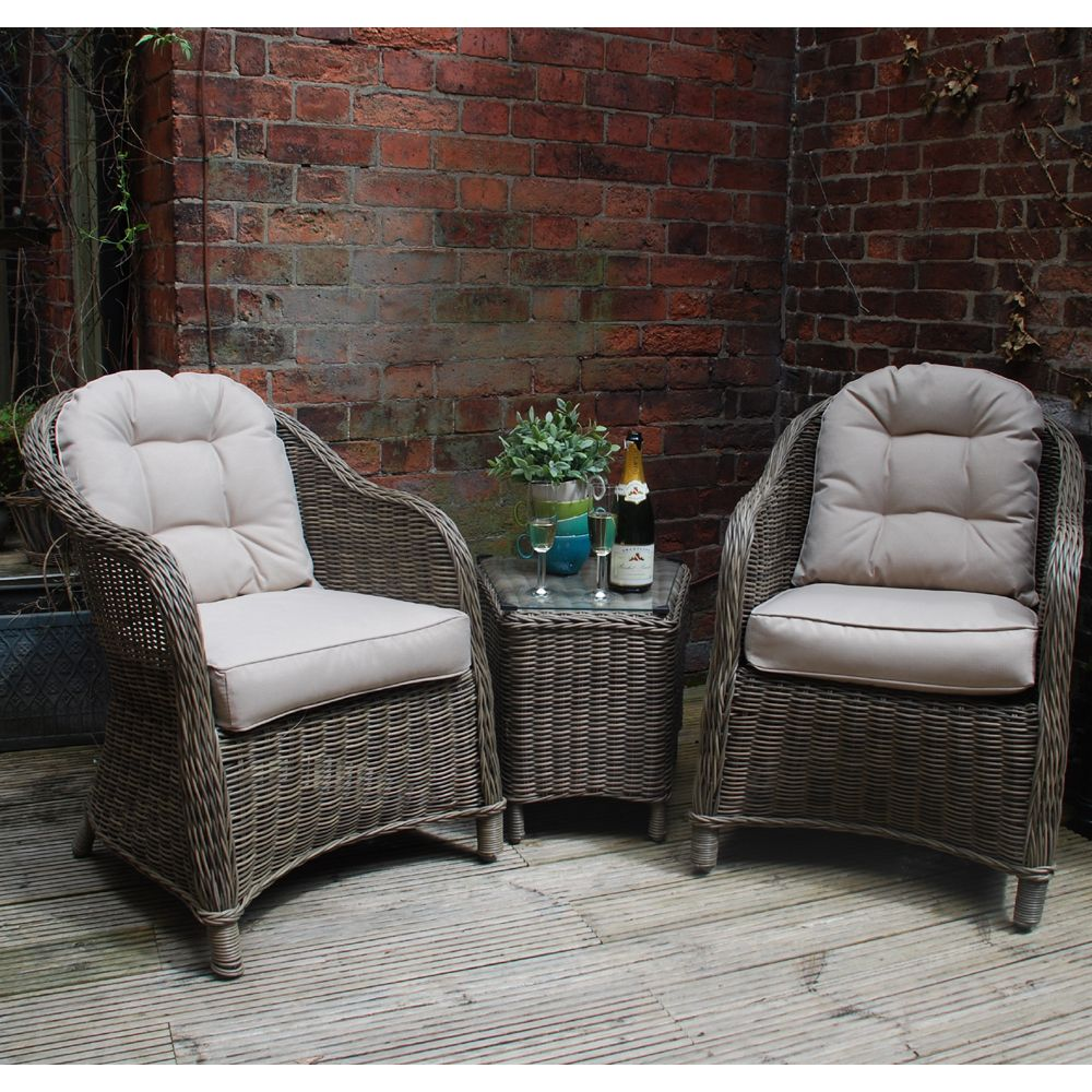 Hampshire Outdoor Garden 3 Piece Rattan Lounge Set With
