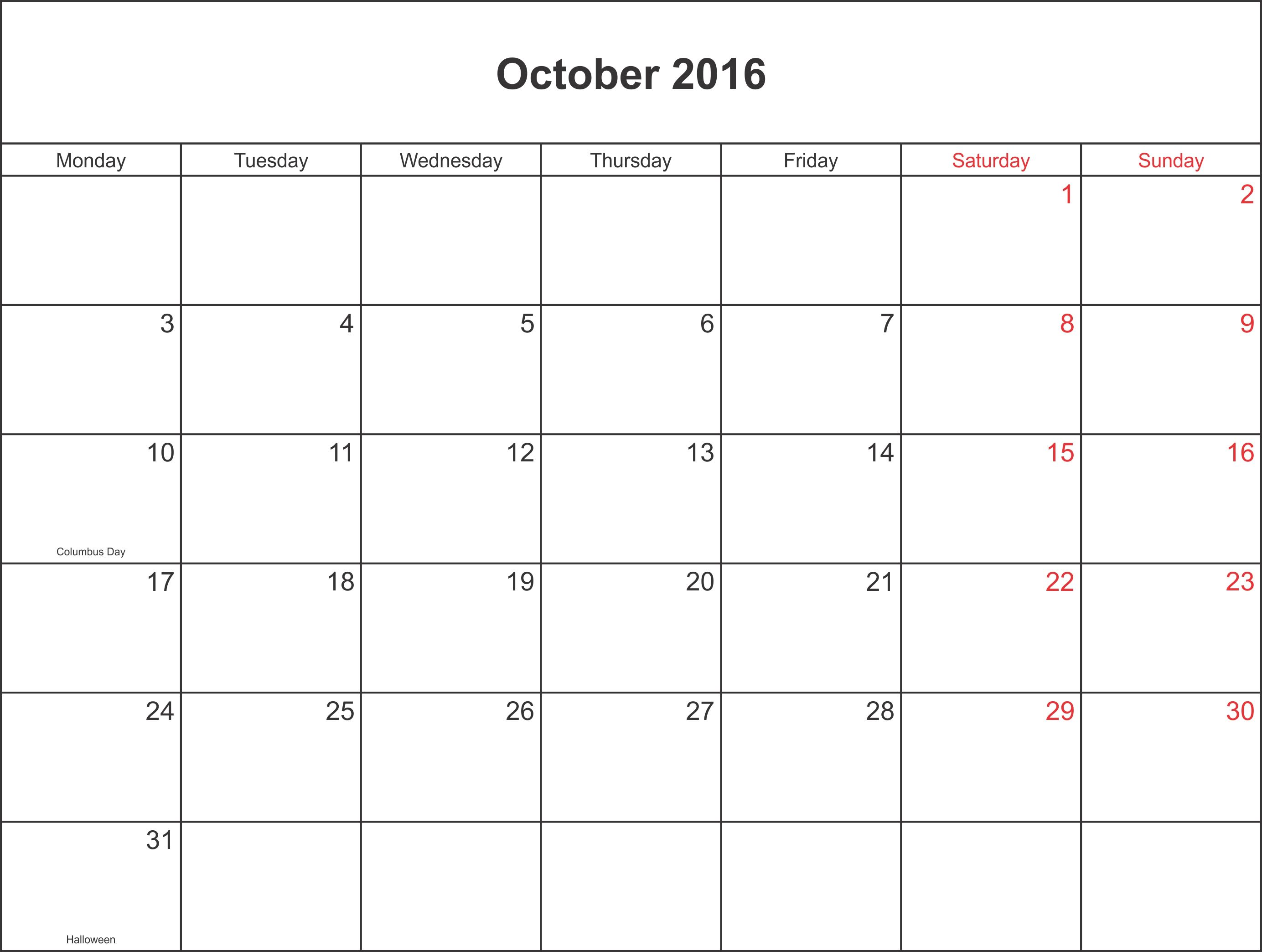 October 2016 Calendar Columbus Day | 2016 Oct Calendar | Pinterest ...