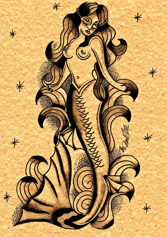 sailor jerry mermaid tattoo - Google Search