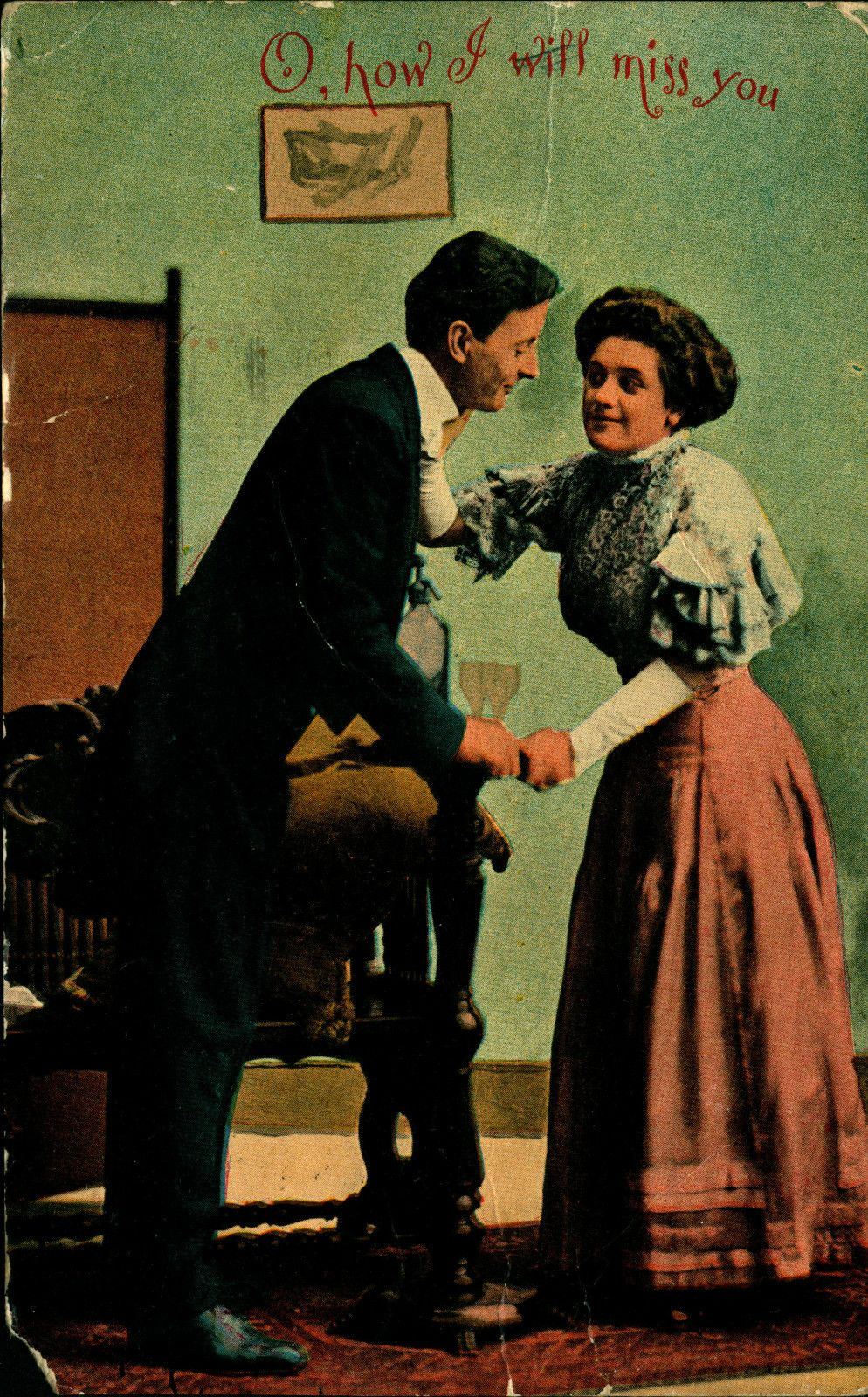 1910 How I Will Miss You Love Couple Used Vintage Postcard