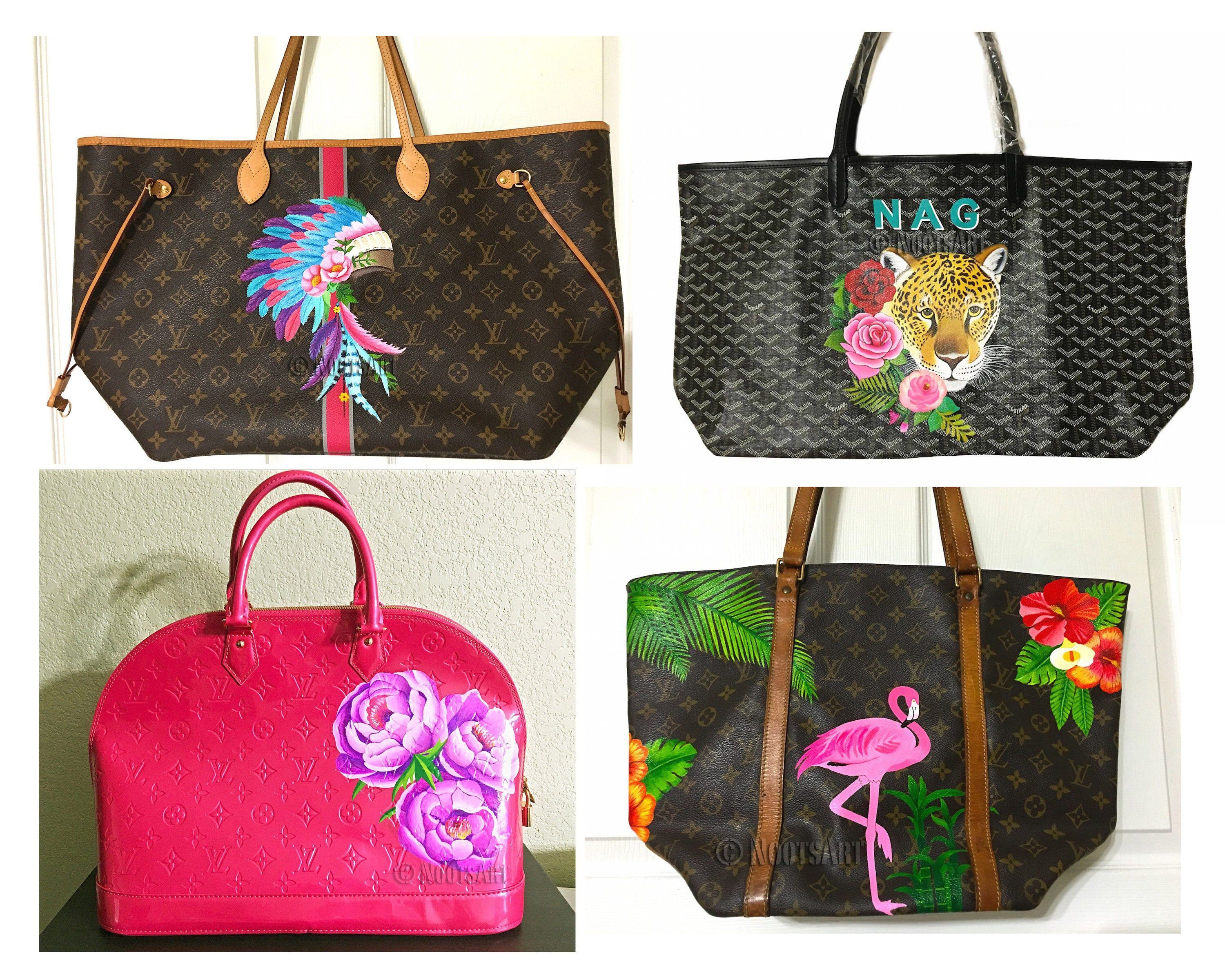 Custom Hand Painted Tote Handbag Customer Provide The Bag