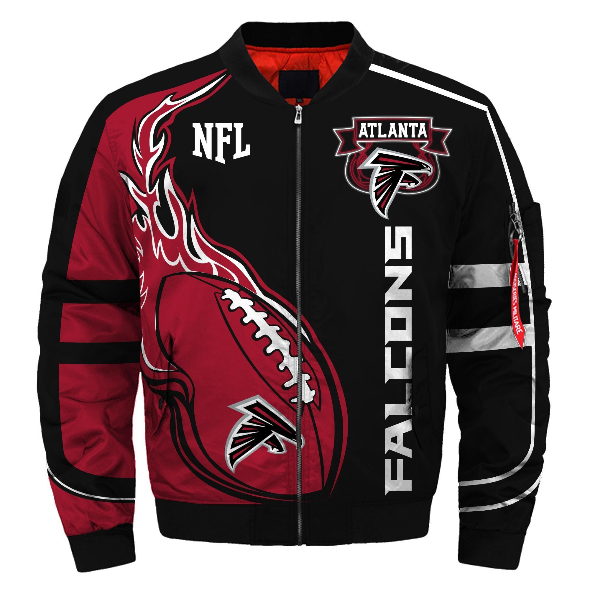 Atlanta Falcons Fans Bomber Jacket Men Women Cotton Padded Air Force One Flight Jacket Unisex Coat Ma025 Lapommenyc Store In 2020 Atlanta Falcons Clothes Bomber Jacket Winter Atlanta Falcons Fans