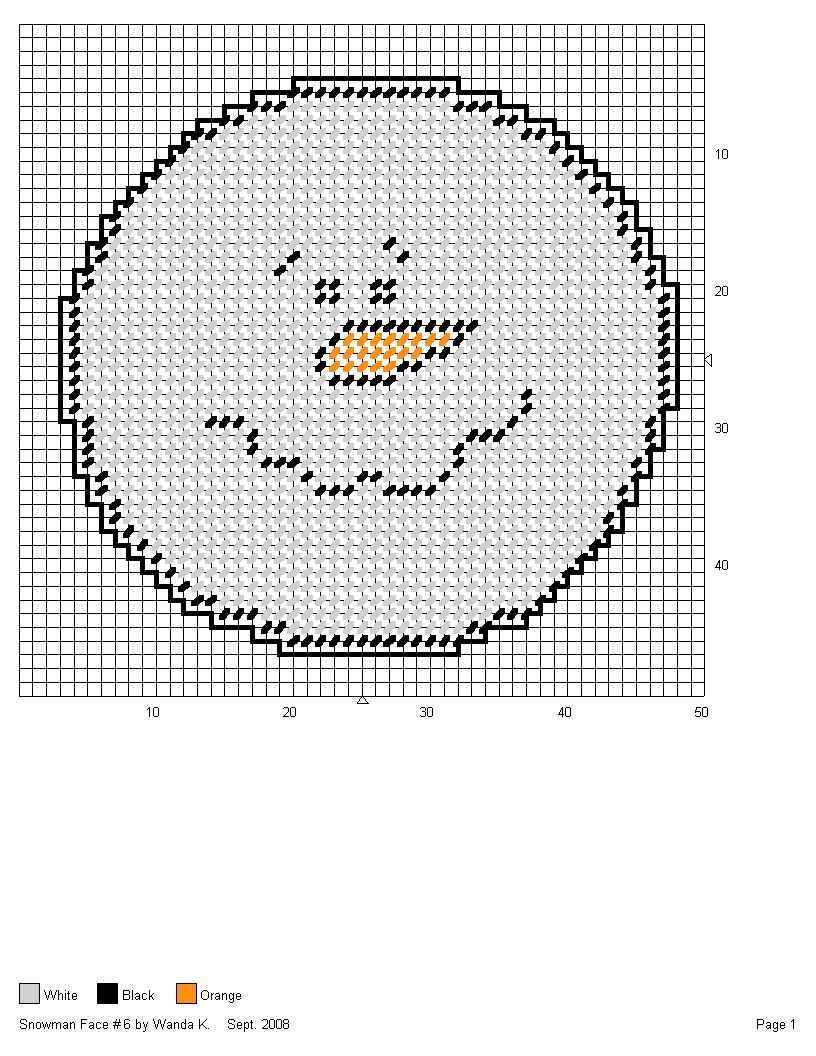 SNOWMAN FACE #6 by WANDA K. | PLASTIC CANVAS PROJECTS TO TRY ...