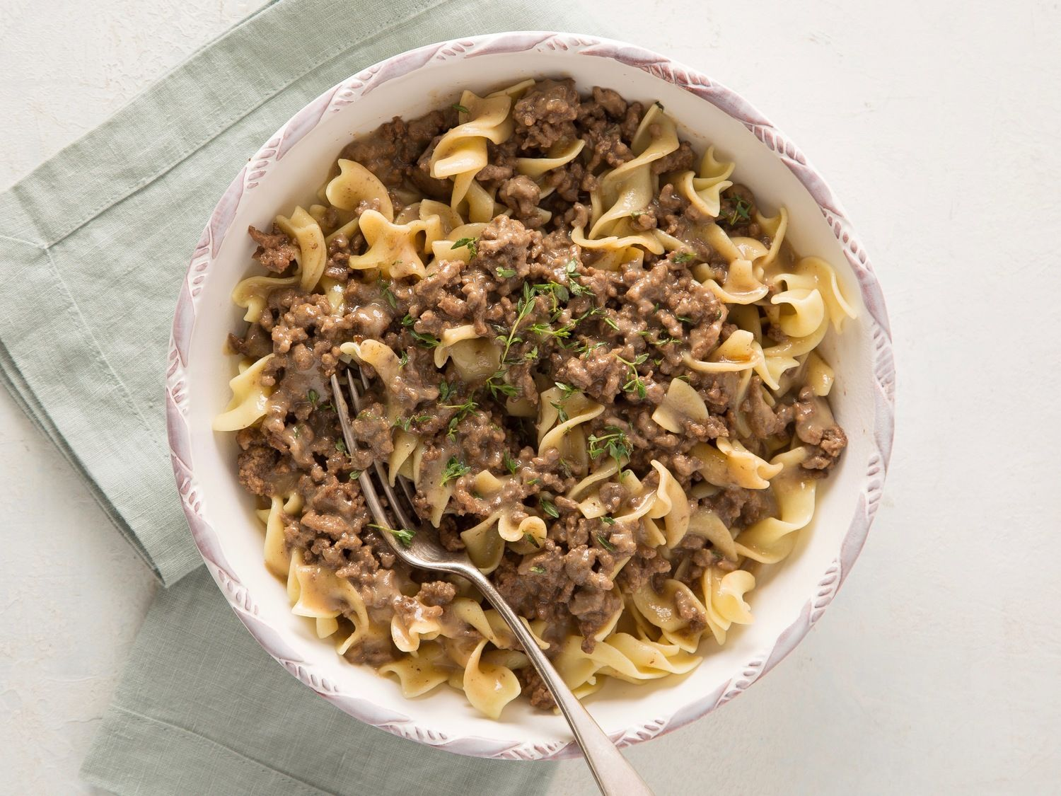 Beef And Gravy Over Egg Noodles Recipe Shaved Beef Recipe Egg Noodles Ground Beef Pasta