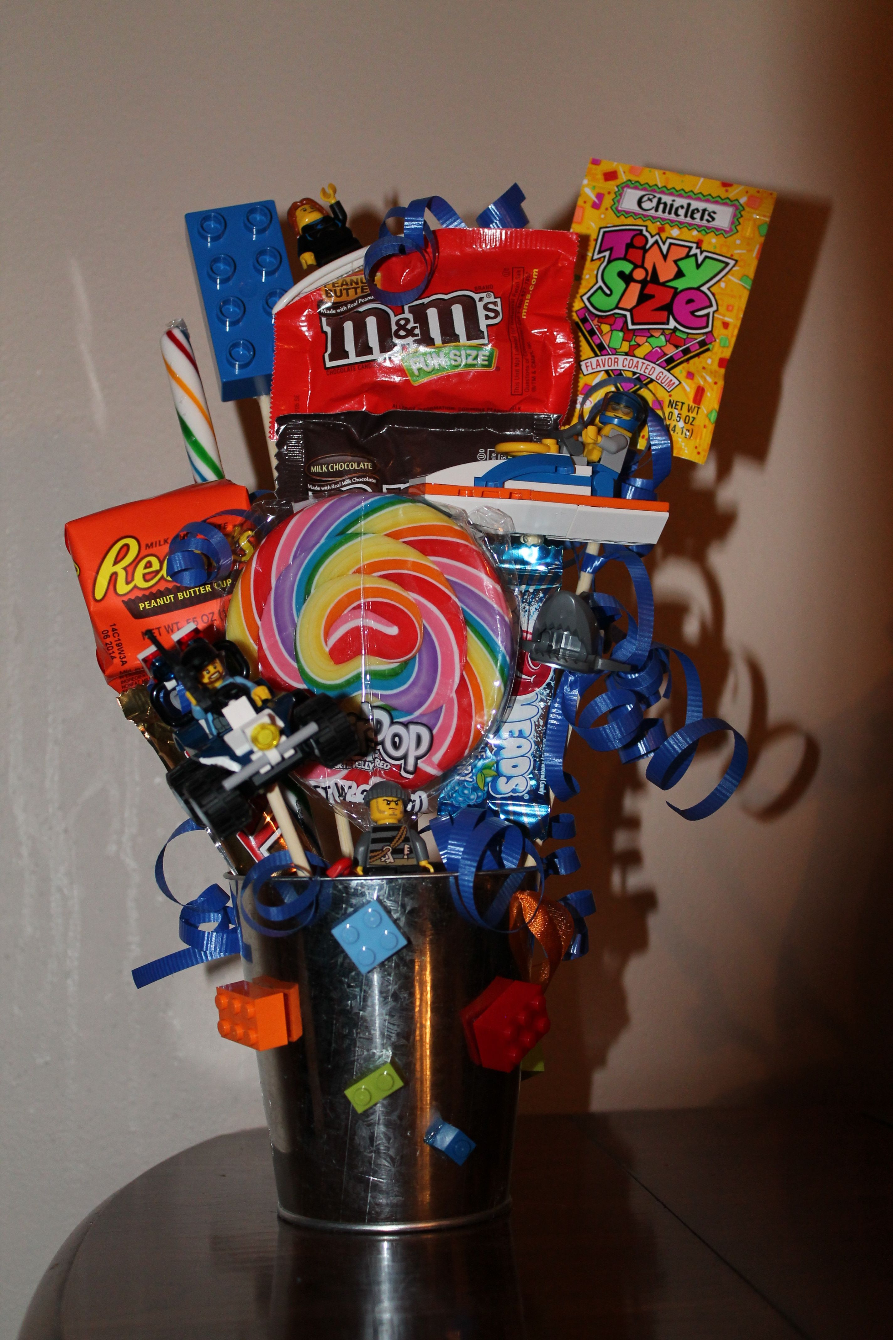 11 yr old boy bday gift basket loves legos and sharks