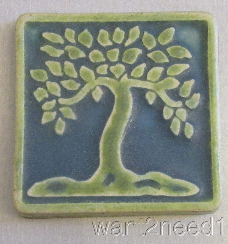 Detroit Art PEWABIC POTTERY LEAFY TREE TILE 2-color green matte ...