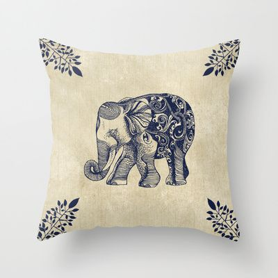 Simple Elephant Throw Pillow by Rskinner1122 - $20.00