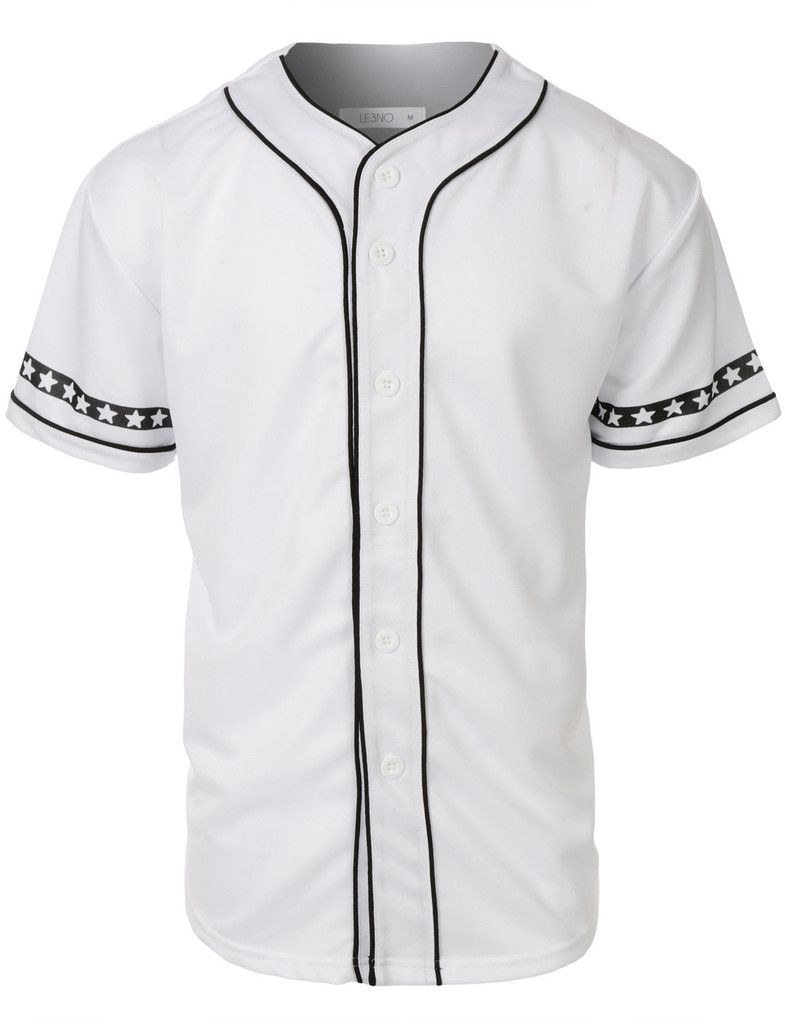 Gear up for baseball season in this varsity short sleeve button down baseball  jersey with design print. Its perfect for outdoors activities or weekend ... cc887a9a7
