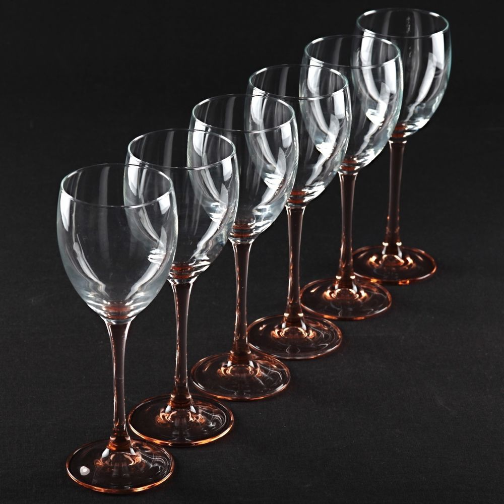 6 weingl ser wei weingl ser rosa stiel rose cristal d arques durand luminarc k15 vintage glas. Black Bedroom Furniture Sets. Home Design Ideas