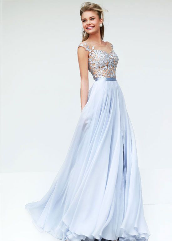 Flowy Chiffon Sheer Cap Sleeves V Back Silver Nude Prom Dress ...