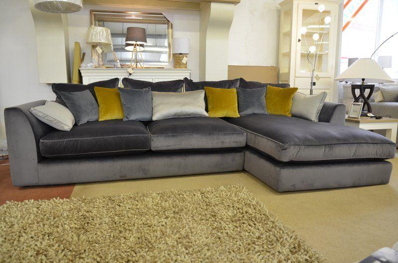 Living : BOSSANOVA Large Velvet Chaise Sofa